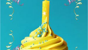 Kid Birthday Greeting Card Messages Happy Birthday Greeting Yellow Cupcake W Candle with Images
