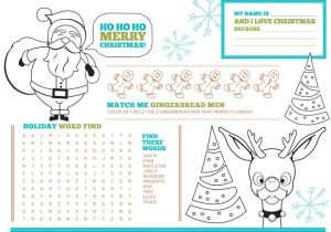 Kids Placemat Template Free Printable Christmas Activity Placemats for Kids