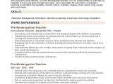 Kindergarten Teacher Resume Sample Pre Kindergarten Teacher Resume Samples Qwikresume