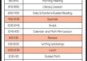 Kindergarten Timetable Template A Day In First Grade Setting the tone the First Week Of
