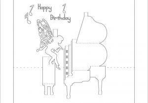 Kirigami Happy Birthday Card Template Piano 3d Pop Up Card Kirigami Pattern 1 with Images Pop