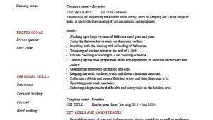 Kitchen Hand Resume Sample Kitchen Hand Resume Cooking Sample Template Example