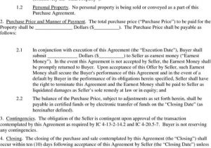 Land Contract Template Indiana Download Indiana Real Property Purchase Agreement form for