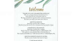 Late Thank You Card Wording Wedding Rustic Greenery Wedding Itinerary Wedding Welcome Program