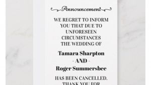 Late Wedding Thank You Card Poems Wedding Announcement Cancellation Cards Zazzle Com with