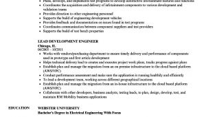 Lead Engineer Resume Lead Development Engineer Resume Samples Velvet Jobs