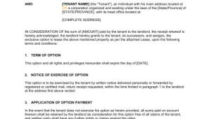 Lease Option Contract Template Option to Lease Agreement Template Word Pdf by