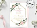 Library Card Wedding Invitation Template Blush Pink Floral Baptism Invitation Template Printable