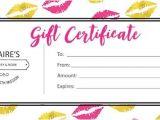 Lipsense Gift Certificate Template Free Sengence Custom Personalized Gold Pink Lips Blank