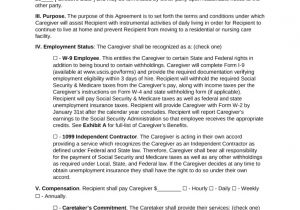 Live In Caregiver Contract Template Free Caregiver Contract Agreement Pdf Word Eforms