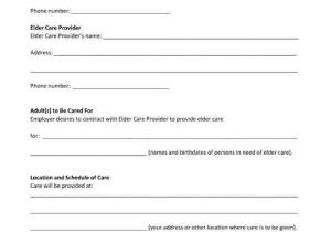 Live In Caregiver Contract Template Free Printable Pdf form Elder Care Agreement Free