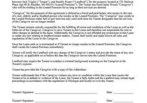 Live In Caregiver Contract Template Live In Caregiver Addendum Ez Landlord forms