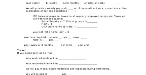 Live Out Nanny Contract Template Contract form for Live Out Nanny Free Download