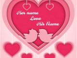 Love Card with Name Edit Beautiful Pink Romantic Heart Love Card with Name