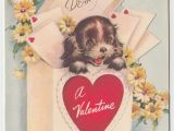 Love Note for Birthday Card Vintage Greeting Card Valentine Puppy Dog Mailbox Cute Rust