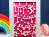 Love You to the Moon and Back Card to the Moon and Back Personalised Mother S Day Card