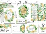 Love Your Melon Gift Card Tropical Gold Wedding Invitation Suit