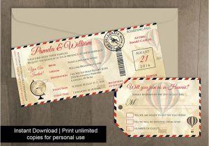 Luggage Tag Invitation Template Diy Printable Wedding Boarding Pass Luggage Tag Template