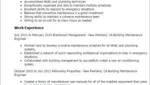 Maintenance Engineer Resume Professional Building Maintenance Engineer Templates to