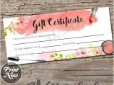 Makeup Gift Certificate Template Watercolor Makeup Gift Certificate Printable Instant