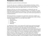 Management Trainee Cover Letter Samples Cover Letter for Trainee Manager 28 Images Trainee