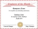 Manager Of the Month Certificate Template Employee Of the Month Certificate Template Excel Xlts