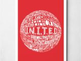 Manchester United Happy Birthday Card Manchester United Football Print Typography Print From Sketchbook Design