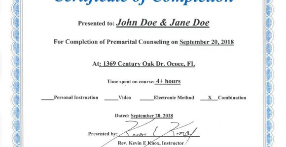 Marriage Counseling Certificate Template Premarital Counseling Certificate Of Completion Template
