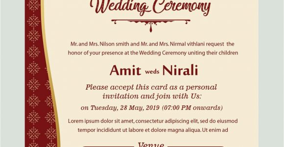 Marriage Reception Card Matter In English Free Kankotri Card Template with Images Printable