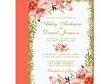 Marriage Wishes Card with Name Modern Coral Floral Wedding Gold Glitter Invitation Zazzle