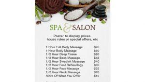 Massage Price List Template Spa Massage Salon Menu Of Services Poster Massage Price