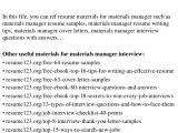 Material Management Resume Sample top 8 Materials Manager Resume Samples