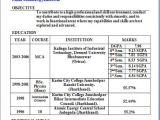 Mca Fresher Resume format In Word Mca Fresher Resume format In Word Sample Template