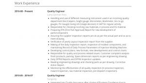Mechanical Engineer Quality Resume Quality Engineer Resume Samples and Templates Visualcv