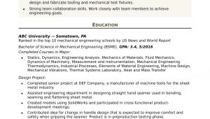 Mechanical Engineer Resume Sample Resume for An Entry Level Mechanical Engineer