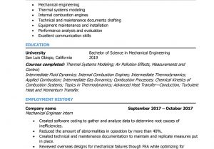 Mechanical Engineering Student Resume Mechanical Engineer Resume Samples and Writing Guide