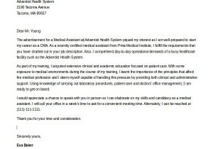 Medical assistant Cover Letter Templates Free 8 Sample Medical assistant Cover Letters Sample Templates