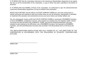 Members Resolution Template Board Resolution Approving Unanimous Shareholders