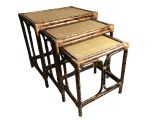 Mid Century Modern Card Table and Chairs Vintage Mid Century Bamboo and Rattan Nesting Tables they