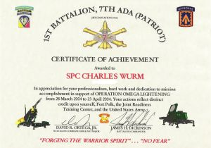 Military Certificate Templates Army Certificates Of Achievement Templates Templates