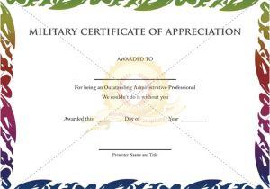 Military Certificate Templates Military Certificate Of Appreciation Template Thumb