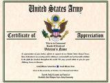 Military Certificate Templates Military Veterans Appreciation Certificates Veterans Day