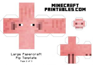 Minecraft Cow Template Minecraft Printable Pig Template Large Page 2