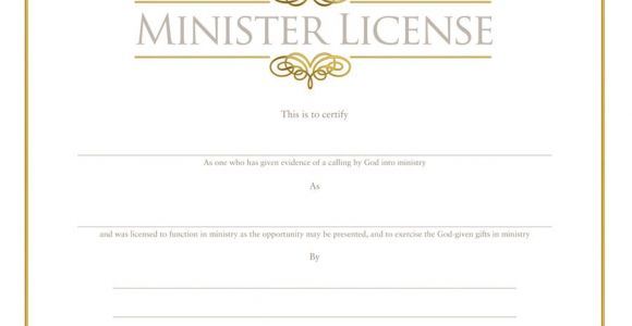 Minister License Certificate Template Minister 39 S License Certificate ordination Christian