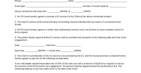 Mobile Dj Contract Template Sample Dj Contract 14 Examples In Word Pdf Google