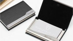 Modern Desk Business Card Holder Personalised Leather Business Card Holder