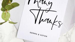 Modern Wedding Thank You Card Wording Modern Script Wedding Thank You Card Template Hand Lettered