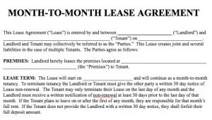 Month to Month Contract Template Basic Rental Agreement In A Word Document for Free