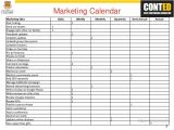 Monthly Marketing Calendar Template Marketing Strategy for Restaurant Bar