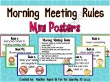 Morning Meeting Lesson Plan Template Morning Meeting Classroom Rules Mini Posters From Fun